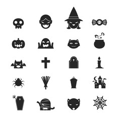Halloween icons set black and white color design on white background