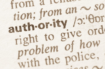 Dictionary definition of word authority