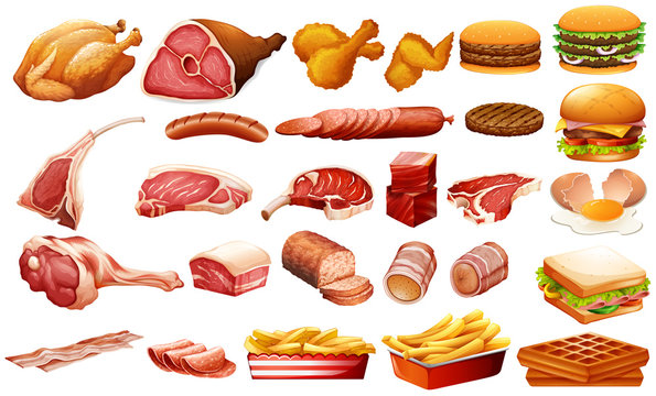 Different kind of meat and food