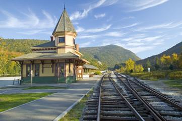 Crawford Depot along the scenic train ride to Mount Washington, New Hampshire