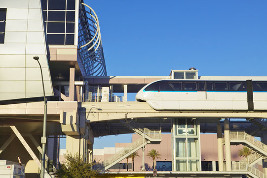 Monorail train with tourists in Las Vegas, NV
