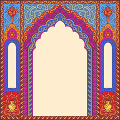 Vector ornamented eastern arch patterns for design layouts. Primary colors: blue, red, beige.