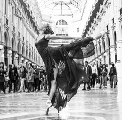 Gorgeous classical dancer performing in Milan black and white
