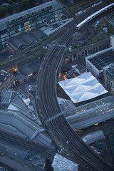 Aerial view of Borough Market in the city of London at dusk.