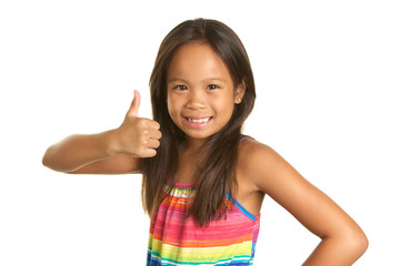 Cute Filipino Girl on White Background Smiling and giving the thumbs up