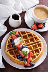 Fresh homemade waffles with ricotta