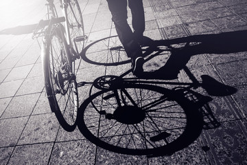 Man Pushing Bicycle, Street Shadow