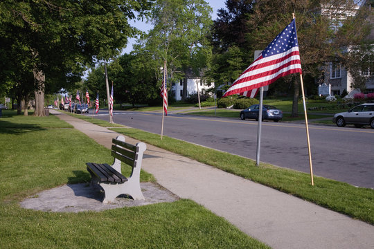 American Flags line empty street on Memorial Day in historic Lexington, MA, Memorial Day, 2011