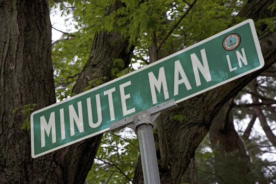 Minute Man Lane, outside Lexington MA to symbolize the Minute Man Soldiers of the Revolutionary War, 1776, MA