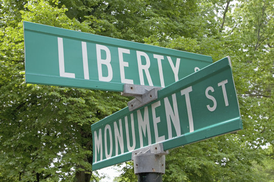Liberty and Monument Road Signs, outside of Lexington, MA.