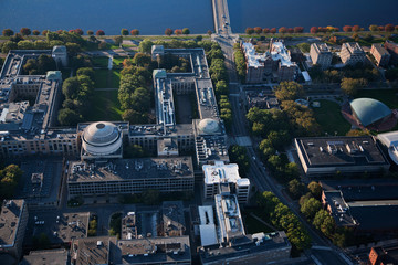 AERIAL VIEW of MIT and Harvard Bridge, also known as M.I.T. Bridge, from Back Bay, Boston to Cambridge across the Charles River.