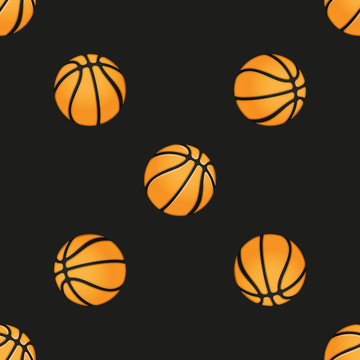 Universal vector basketball seamless patterns tiling. Sport theme with balls.