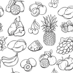 Hand draw fruits pattern.