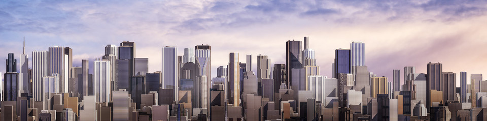 Day city panorama / 3D render of daytime modern city under bright sky Fotobehang