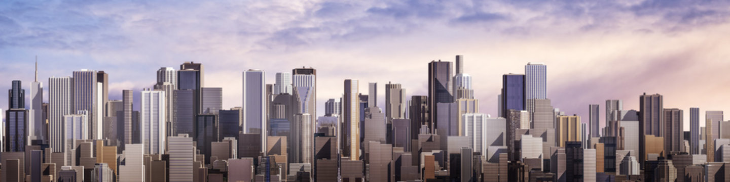 Day city panorama / 3D render of daytime modern city under bright sky