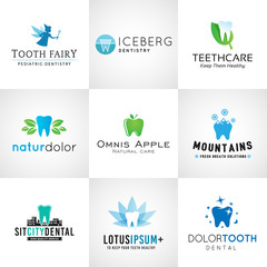 Set of dental logos. Vector tooth designs. Bright teeth clinic