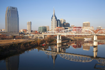 Nashville Skyline, Tennessee and the Cumberland River with river reflection.