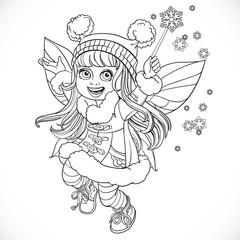 Cute little winter fairy girl in a blue coat with a Magic wand o