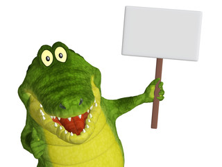 Croc with a blank sign