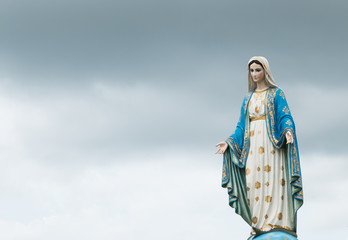 Chanthaburi, Thailand blessed virgin mary against stromy sky most beautiful in Thailand