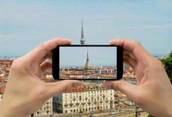 taking photo in Torino