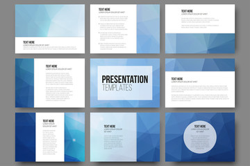 Set of 9 vector templates for presentation slides. Abstract
