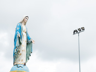 Chanthaburi, Thailand blessed virgin mary isolated most beautiful in Thailand with light stand