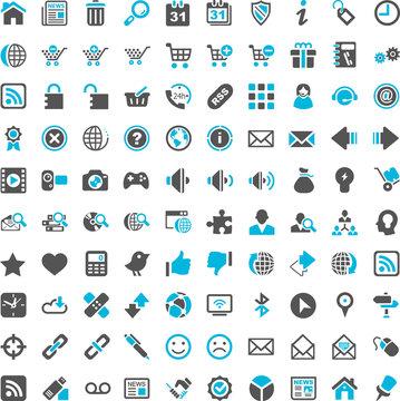 Internet Webshop Online Website Iconset blue