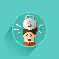 debt and bankruptcy. icon. vector illustration