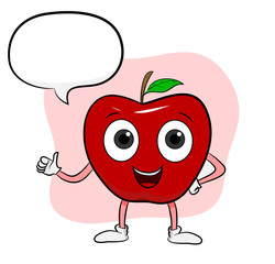Apple Cartoon, a hand drawn vector illustration of apple cartoon with text, isolated on a simple background (editable).