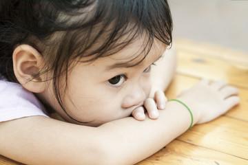 Sad Asian Little Girl, Toddler, Waiting for Her Mother.