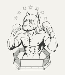 Illustration of  fighter's body with pit bull's head in the ring
