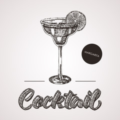 Hand drawn sketch cocktail with text. Vector illustration