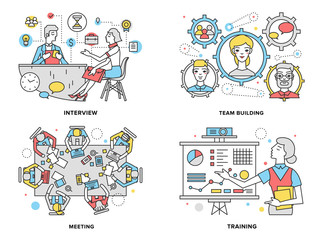 Human resources flat line illustration