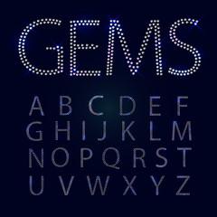 Gems alphabet. All capital letters.