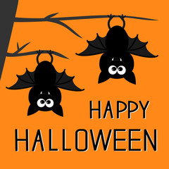 Two bats hanging on the tree. Happy Halloween card. Flat design