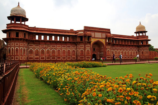 Agra Fort, a Unesco World Heritage site, and one of the biggest tourist highlights. Built by several Mughal emperors from XV to XVI centuries. Uttar Pradesh, India. JULY 18 2015