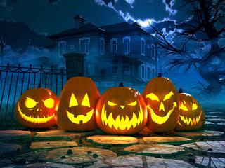 gruseliges haus mit kürbisen. halloween konzept