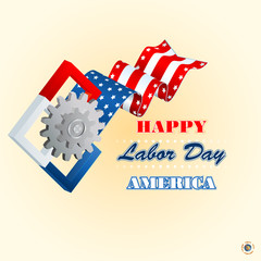 Labor day, abstract computer graphic design; Holidays, layout, template with cogwheels symbol  and squares on national flag colors for American Labor Day