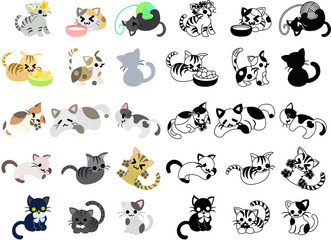 Cute icons of various cats