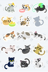 The illustration of cute cute cats.