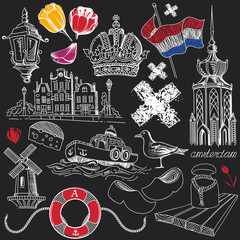 Symbols of Amsterdam in Chalkboard Doodle Style