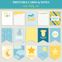 Baby Boy Card Set - for birthday, baby shower, party, design