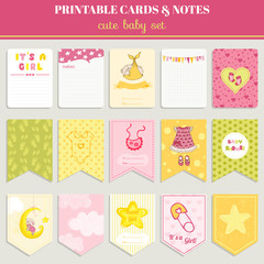 Baby Girl Card Set - for birthday, baby shower, party, design