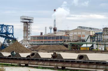 Processing of sugar beet in sugar beet factory in autumn.