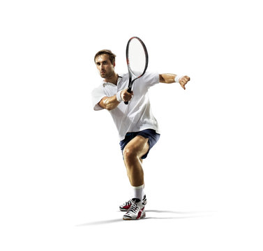 isolated on white young man is playing tennis