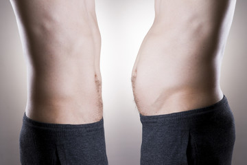 Man before and after weight loss. Fat and slim body