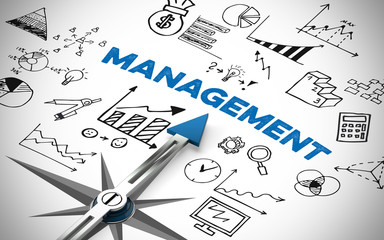 Arrow pointing to management concept