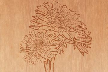 flower on pattern wood