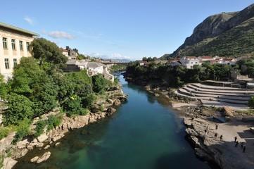 Panorama of Mostar and Neretva river
